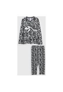 Pijama Malwee Liberta Longo Infantil Dinossauro Cinza