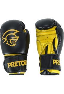 Luvas De Boxe Pretorian First - 12 Oz - Adulto - Preto/Amarelo