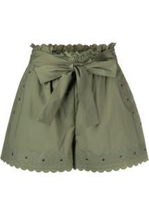 Twin-Set Short Com Amarração Na Cintura E Bordado - Verde