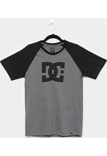 Camiseta Juvenil Dc Shoes Especial Sttar Raglan - Masculino-Chumbo