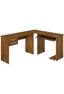 Mesa Para Computador Triunfo Com 2 Gavetas Rovere Rústico - Benetil Móveis