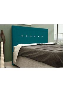 Cabeceira Para Box Queen 160Cm Vegas Suede Azul Turquesa - Js Móveis