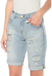 Bermuda Jeans Ciclista Malwee Destroyed Azul