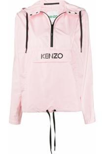 Kenzo Jaqueta Corta-Vento Com Estampa De Logo - Rosa