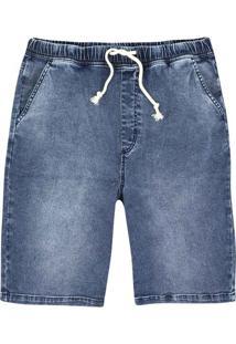 Bermuda Jeans Masculina Jogger Em Denim Moletom