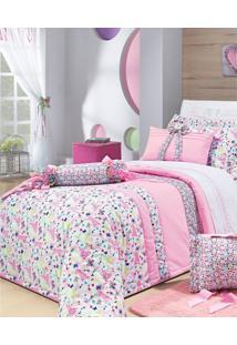 Colcha De Cama Solteiro Rosa Estampado Percal 200 Fios Com 6 Peças - Colcha Campofiori - Bernadete Casa