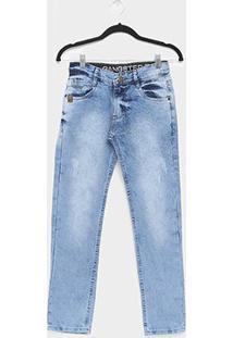 Calça Jeans Infantil Gangster Estonada Masculina - Masculino-Azul Claro
