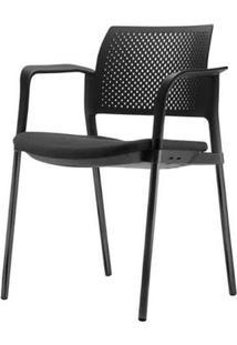 Cadeira Kyos Com Bracos Assento Crepe Estofado Base Preta - 54780 - Sun House