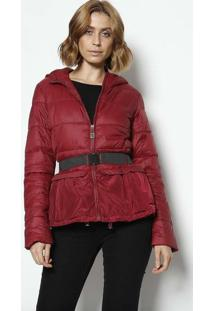Jaqueta Com Capuz & Cinto - Vermelho Escuro & Preta-Susan Zheng