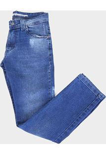 Calça Jeans Juvenil Gansgter Tradicional Estonada Masculina - Masculino-Azul