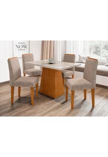 Conjunto De Mesa De Jantar Com Tampo De Vidro Jasmin E 4 Cadeiras Ana Ii Animalle Off White E Cinza