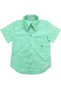 Camisa Infantil Pandi Ilhós Masculina - Masculino-Verde