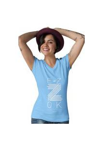 Camiseta Feminina Gola V Ezok Z Azul Claro