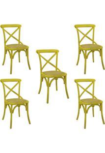Kit 5 Cadeiras Decorativas Sala De Jantar Cozinha Danna Rattan Natural Amarela - Gran Belo