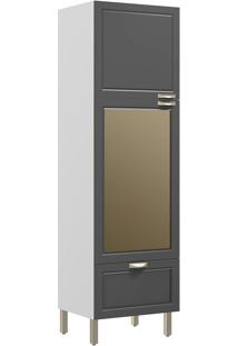 Paneleiro Com 2 Portas Vidro Reflecta E 1 Gaveta Nevada 5630Vd-Multimóveis - Branco Premium / Grafite Premium