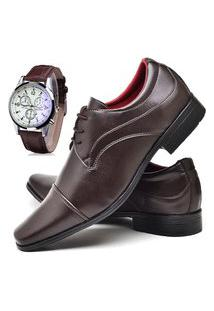 Sapato Social Glamour Com Relógio Dubuy 832Od Marrom