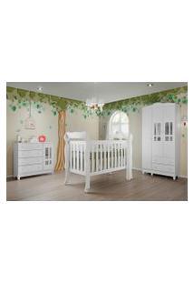 Dormitório Ariel Guarda Roupa 3 Portas Comoda Fraldário Berço Lila Carolina Baby Branco