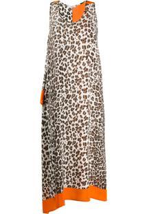P.A.R.O.S.H. Vestido Assimétrico Com Animal Print - Neutro