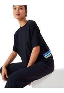 Amaro Feminino Camiseta Oversized Cropped, Preto