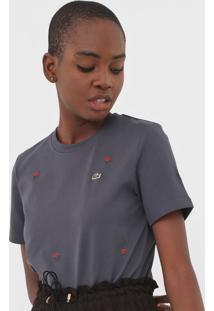 Camiseta Lacoste L!Ve Bordada Grafite