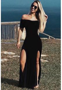 Vestido Longo Viscolycra Fendas
