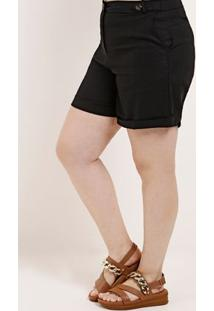 Short Linho Plus Size Feminino Autentique Preto