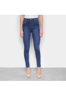 Calça Jeans Skinny Sawary Cinta Interna Super Lipo Estonada Cintura Alta Feminina - Feminino-Azul