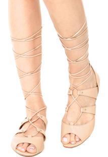 Rasteira Dafiti Shoes Gladiadora Tachas Nude