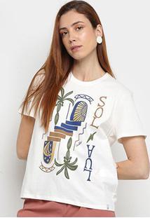 Camiseta Cantão Sol & Lua Manga Curta Feminina - Feminino-Off White