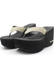 Tamanco Barth Shoes Sorvete Glitter Feminino - Feminino-Dourado+Preto