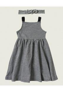 Vestido Godê Vichy Malwee Kids Preto - 3