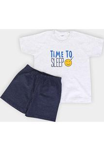 Pijama Infantil Candy Kids Meia Malha Time To Sleep Masculina - Masculino-Marinho