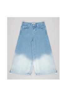 Calça Jeans Infantil Pantacourt Com Bolsos Azul Claro