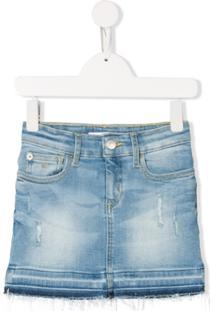 Calvin Klein Kids Minissaia Jeans Com Efeito Desbotado - Azul