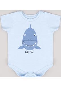 Body Infantil Com Estampa Interativa De Tubarão Manga Curta Azul Claro