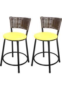 Banquetas Baixa Para Cozinha Hawai Café 2Un Assento Amarelo