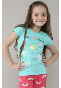 "Blusa Infantil ""Things I Love In Summer"" Com Glitter Manga Curta Verde Água"