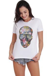 Camiseta Basica Joss Caveira Flores Branca - Kanui
