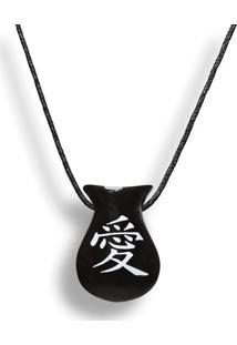 Colar Aromatizador Difusor Pessoal Cuia Símbolo Japonês Amor Preto Ortega