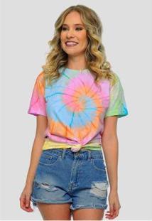Camiseta Tie Dye Colorido Feminina Sob Manga Curta Espiral - Feminino-Rosa