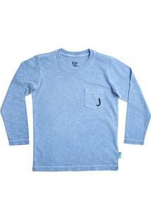 Camiseta Manga Longa Infantil Jokenpô Bolso Masculino - Masculino-Azul