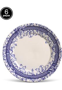 Conjunto 6Pçs Pratos Rasos Porto Brasil Mônaco Patchwork Branco/Azul