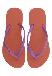 Chinelo Havaianas Slim Logo Pop-Up 17 - Feminino - Laranja