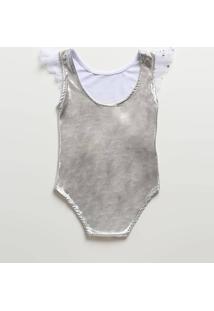 Body Infantil Metalizado Tule Sem Manga Marisa