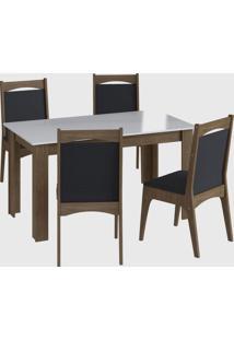 Conjunto Mesa Fixa 4 Cadeiras Marrom Móveis Canção