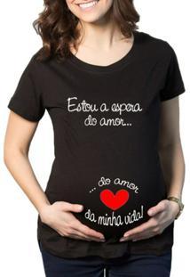 Camiseta Criativa Urbana Grávida Gestantes Frases Engraçadas A Espera - Feminino
