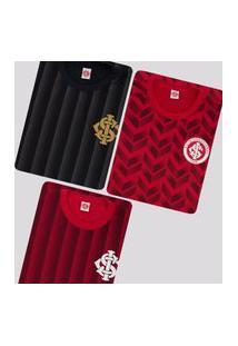 Kit De 3 Camisas Internacional Ruy Vermelha E Preta