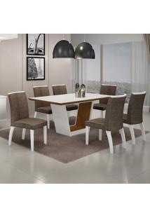 Conjunto Sala De Jantar Mesa Tampo Mdf/Vidro E 6 Cadeiras Linho Alemanha Leifer Flex Color
