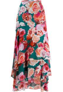 Pinko Saia Longa Com Estampa Floral E Amarração - Rosa