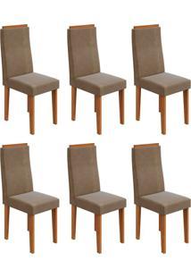 Conjunto Com 6 Cadeiras Dafne Rovere E Marrom